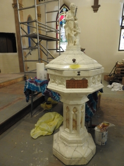 repairs on the baptismal font